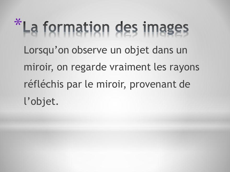 Lorsquon observe un objet dans un miroir, on regarde vraiment les rayons réfléchis par le miroir, provenant de lobjet.