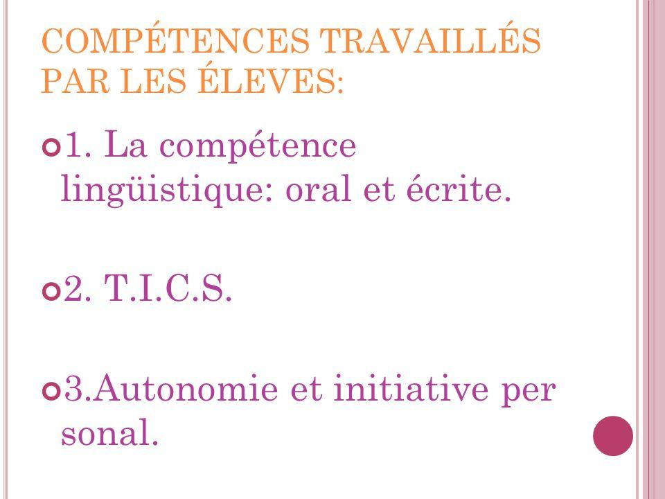 COMPÉTENCES TRAVAILLÉS PAR LES ÉLEVES: 1. La compétence lingüistique: oral et écrite. 2. T.I.C.S. 3.Autonomie et initiative per sonal.
