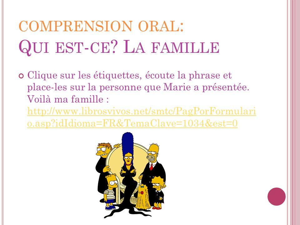 COMPRENSION ORAL : Q UI EST - CE ? L A FAMILLE Clique sur les étiquettes, écoute la phrase et place-les sur la personne que Marie a présentée. Voilà m