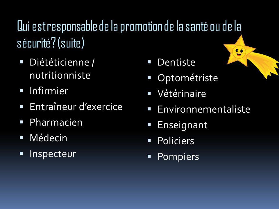 Qui est responsable de la promotion de la santé ou de la sécurité? (suite) Diététicienne / nutritionniste Infirmier Entraîneur dexercice Pharmacien Mé