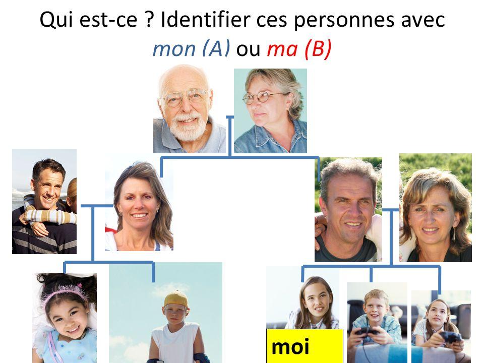 Qui est-ce ? Identifier ces personnes avec mon (A) ou ma (B) moi