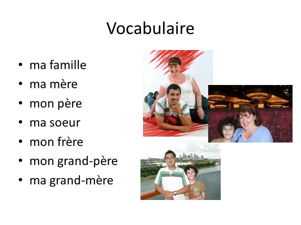 Ma famille mon frère, Marc ma soeur, Rose mon père, Georges ma mère, Lise mon grand-père, Luc ma grand-mère, Anne moi