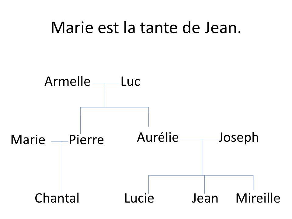 Marie est la tante de Jean. Lucie Jean Mireille Armelle Luc Aurélie Joseph Pierre Chantal Marie