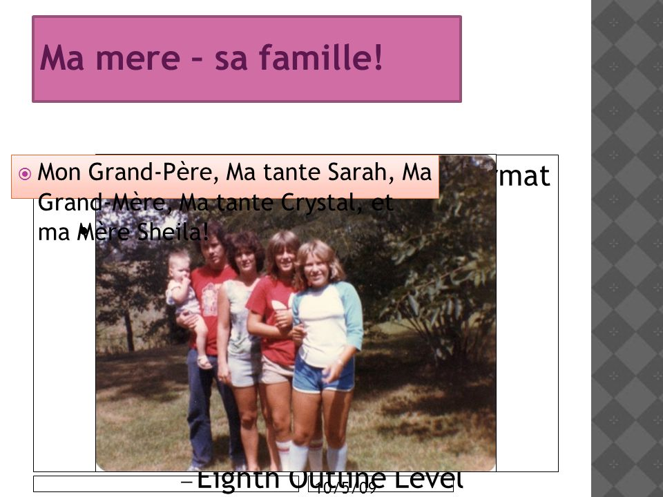 Click to edit the outline text format Second Outline Level Third Outline Level Fourth Outline Level Fifth Outline Level Sixth Outline Level Seventh Outline Level Eighth Outline Level Ninth Outline LevelClick to edit Master text styles Second level Third level Fourth level Fifth level 10/5/09 Ma mere – sa famille.