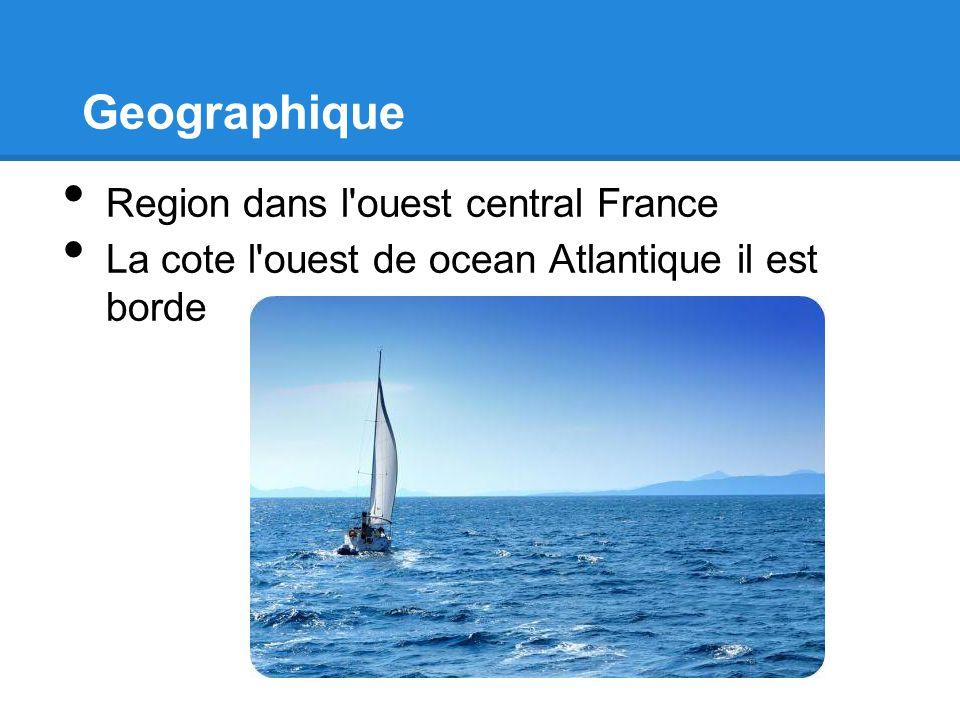 Geographique Region dans l'ouest central France La cote l'ouest de ocean Atlantique il est borde