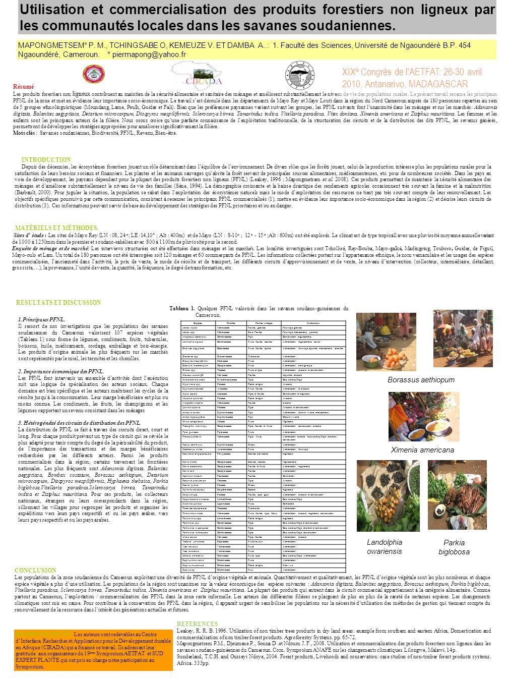 Utilisation et commercialisation des produits forestiers non ligneux par les communautés locales dans les savanes soudaniennes. MAPONGMETSEM* P. M., T