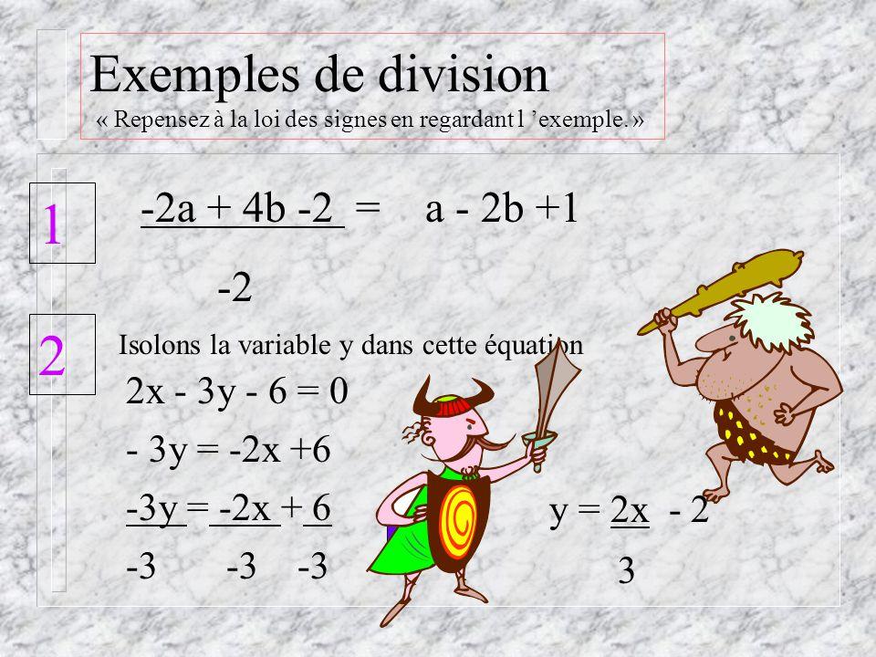 Exemples de multiplication « Repensez à la loi des signes en regardant l exemple.