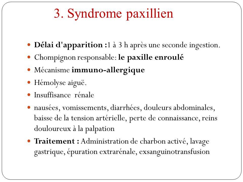 3. Syndrome paxillien Délai d'apparition :1 à 3 h après une seconde ingestion. Chompignon responsable: le paxille enroulé Mécanisme immuno-allergique