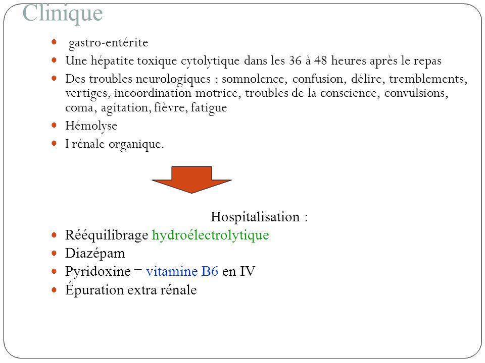 Clinique gastro-entérite Une hépatite toxique cytolytique dans les 36 à 48 heures après le repas Des troubles neurologiques : somnolence, confusion, d