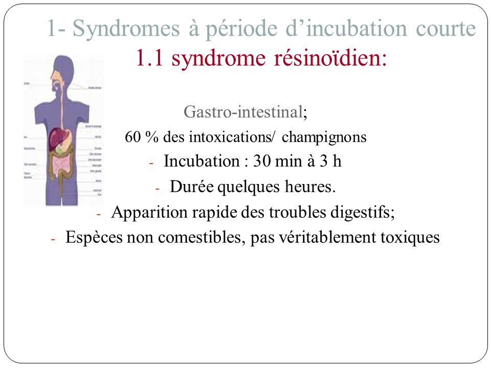 1- Syndromes à période dincubation courte 1.1 syndrome résinoϊdien: Gastro-intestinal; 60 % des intoxications/ champignons - Incubation : 30 min à 3 h