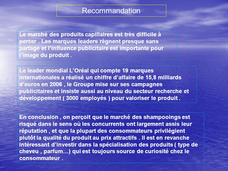 Recommandation Le marché des produits capillaires est très difficile à percer.