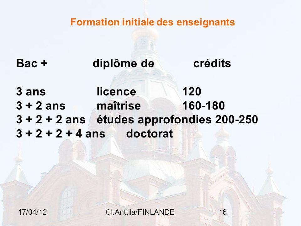 17/04/12Cl.Anttila/FINLANDE16 Formation initiale des enseignants Bac + diplôme de crédits 3 ans licence 120 3 + 2 ans maîtrise 160-180 3 + 2 + 2 ans études approfondies 200-250 3 + 2 + 2 + 4 ans doctorat