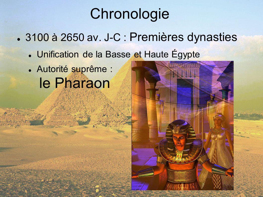 Chronologie 3100 à 2650 av. J-C : Premières dynasties Unification de la Basse et Haute Égypte Autorité suprême : le Pharaon