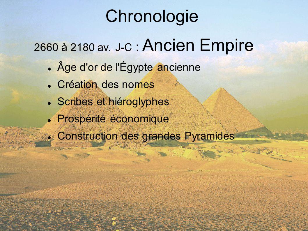 Chronologie 2660 à 2180 av. J-C : Ancien Empire Âge d'or de l'Égypte ancienne Création des nomes Scribes et hiéroglyphes Prospérité économique Constru
