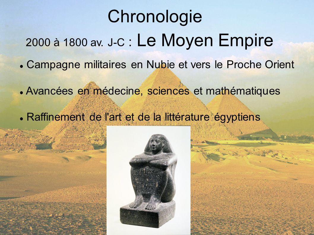 Chronologie 2000 à 1800 av. J-C : Le Moyen Empire Campagne militaires en Nubie et vers le Proche Orient Avancées en médecine, sciences et mathématique
