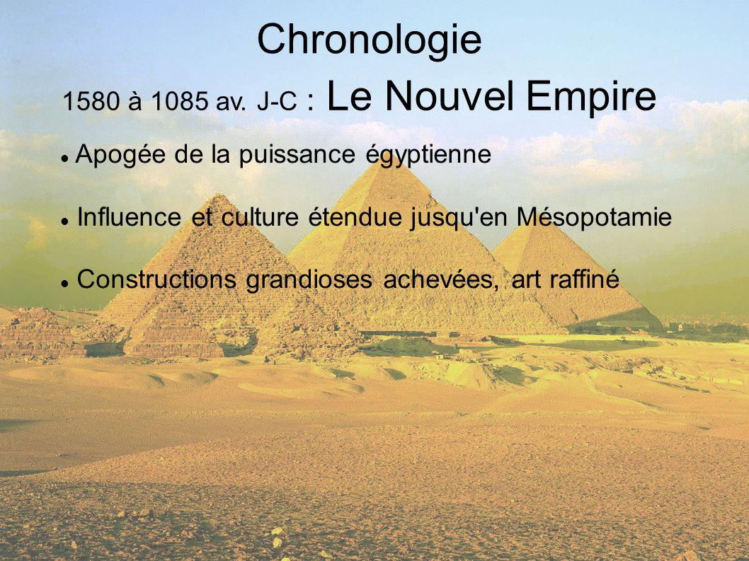 Chronologie 1580 à 1085 av. J-C : Le Nouvel Empire Apogée de la puissance égyptienne Influence et culture étendue jusqu'en Mésopotamie Constructions g
