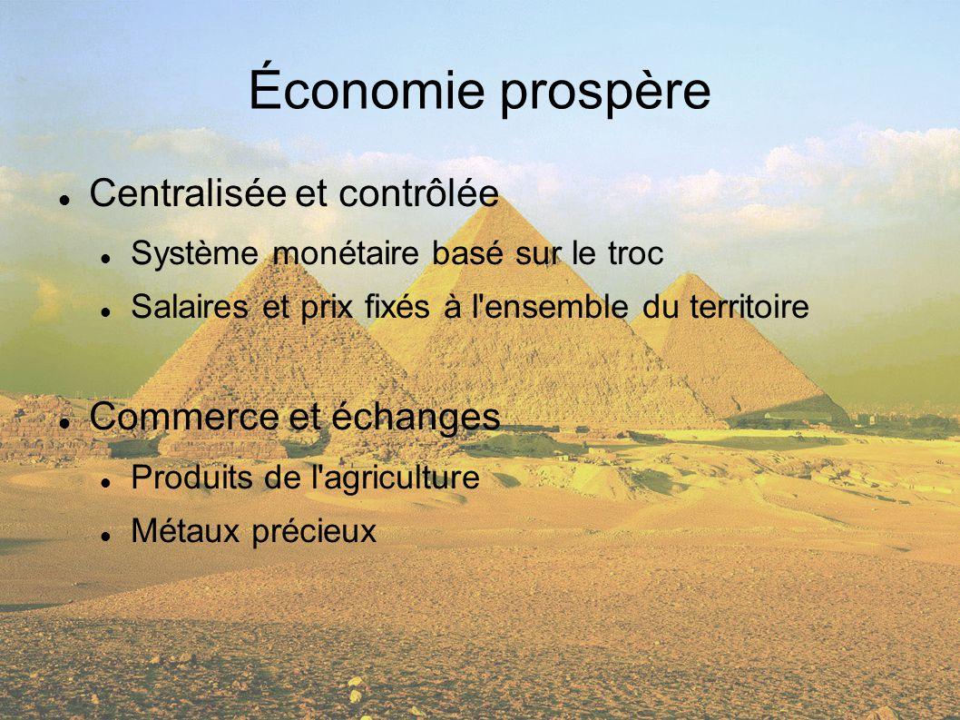Économie prospère Centralisée et contrôlée Système monétaire basé sur le troc Salaires et prix fixés à l ensemble du territoire Commerce et échanges Produits de l agriculture Métaux précieux