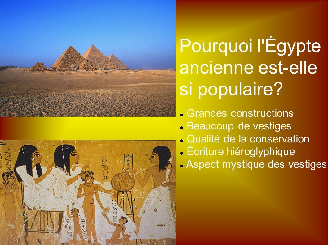 Grandes constructions Beaucoup de vestiges Qualité de la conservation Écriture hiéroglyphique Aspect mystique des vestiges