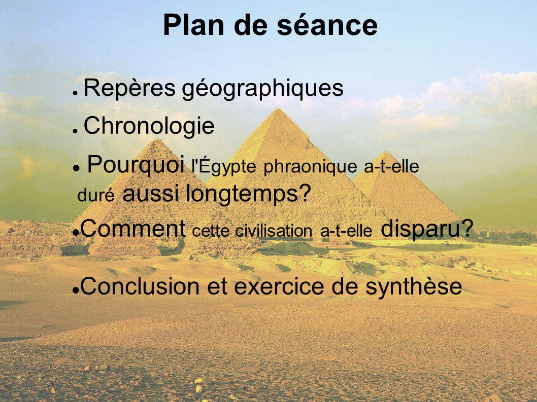 Plan de séance Repères géographiques Chronologie Pourquoi l'Égypte phraonique a-t-elle duré aussi longtemps? Comment cette civilisation a-t-elle dispa