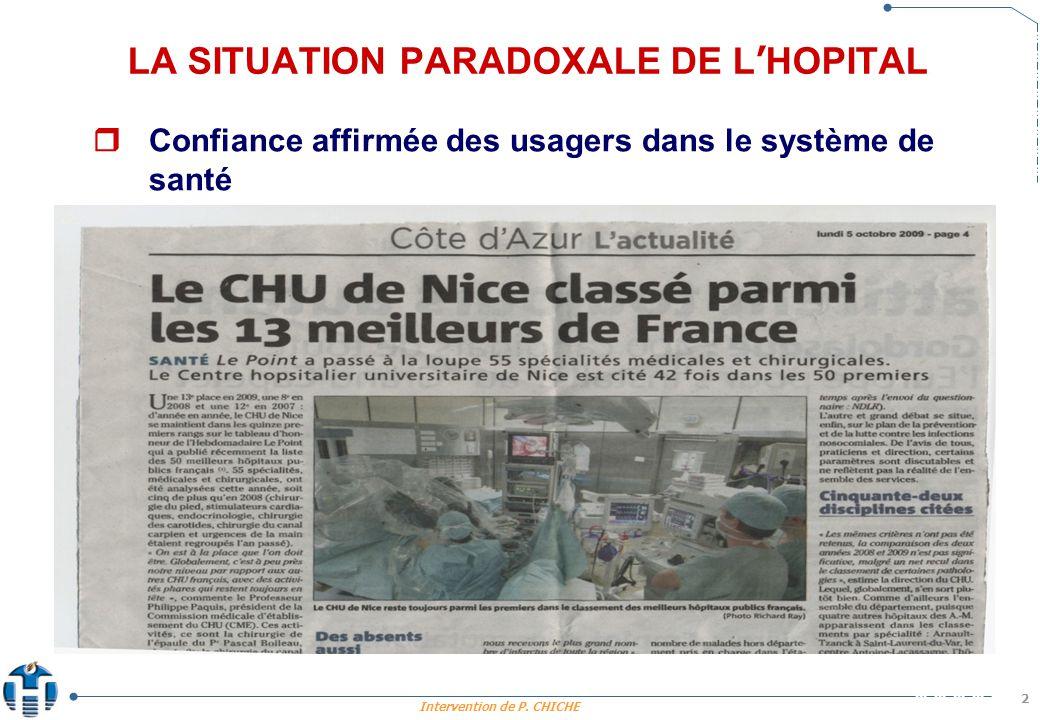 Intervention de P. CHICHE 2 LA SITUATION PARADOXALE DE L HOPITAL. Confiance affirmée des usagers dans le système de santé