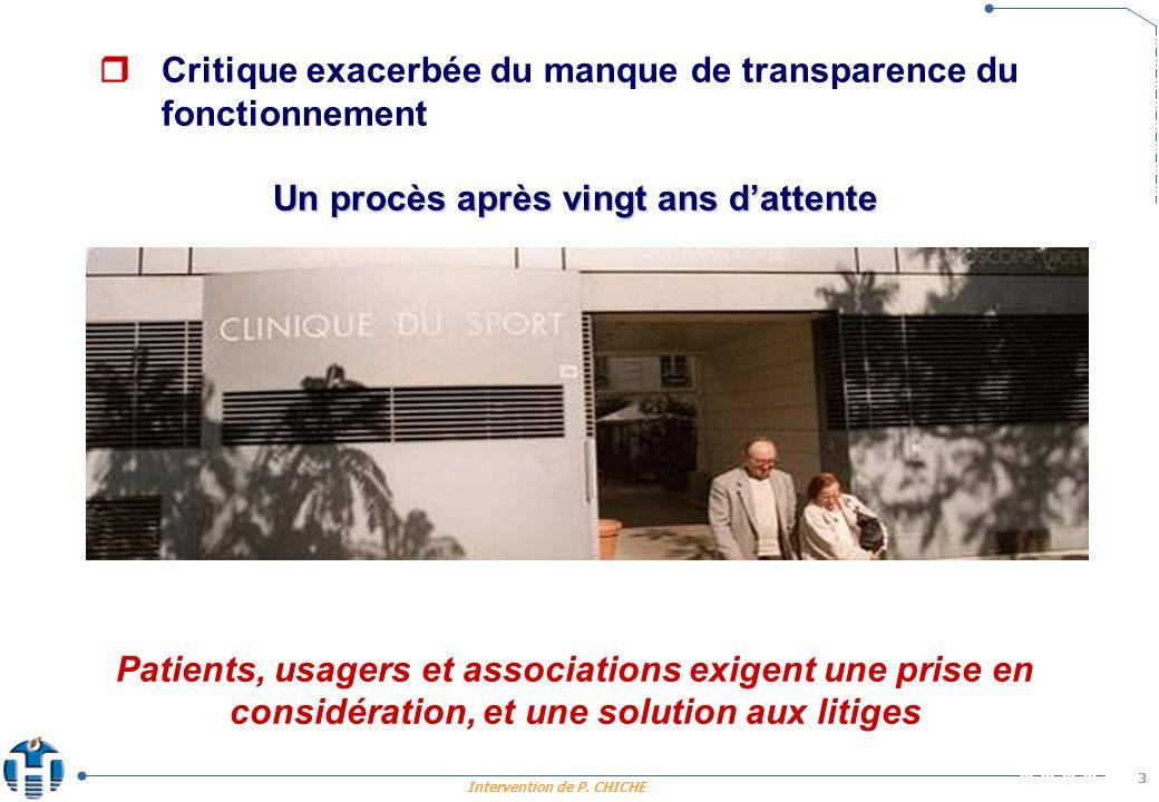 Intervention de P. CHICHE 3 Critique exacerbée du manque de transparence du fonctionnement Un procès après vingt ans dattente Patients, usagers et ass