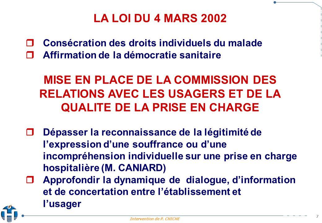 Intervention de P. CHICHE 7 LA LOI DU 4 MARS 2002 Consécration des droits individuels du malade Affirmation de la démocratie sanitaire MISE EN PLACE D