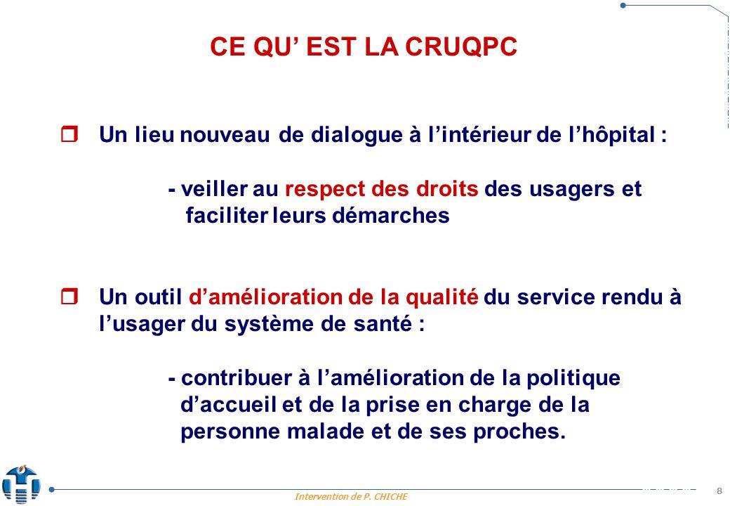 Intervention de P. CHICHE 8 CE QU EST LA CRUQPC Un lieu nouveau de dialogue à lintérieur de lhôpital : - veiller au respect des droits des usagers et