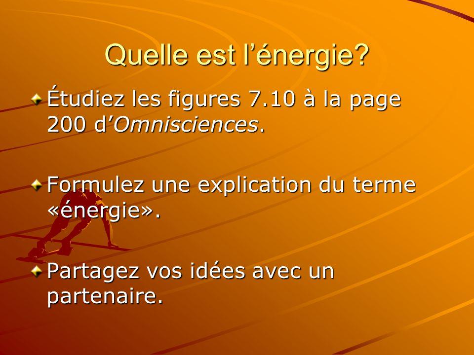 Quelle est lénergie? Étudiez les figures 7.10 à la page 200 dOmnisciences. Formulez une explication du terme «énergie». Partagez vos idées avec un par