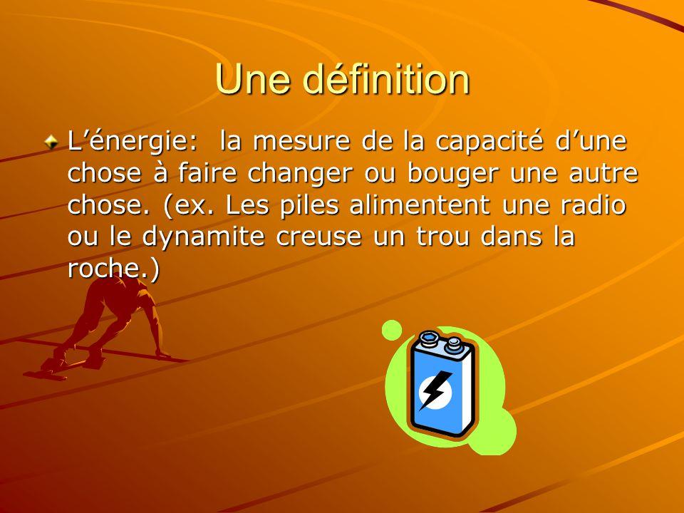 Une définition Lénergie: la mesure de la capacité dune chose à faire changer ou bouger une autre chose. (ex. Les piles alimentent une radio ou le dyna
