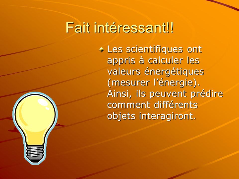 Fait intéressant!! Les scientifiques ont appris à calculer les valeurs énergétiques (mesurer lénergie). Ainsi, ils peuvent prédire comment différents