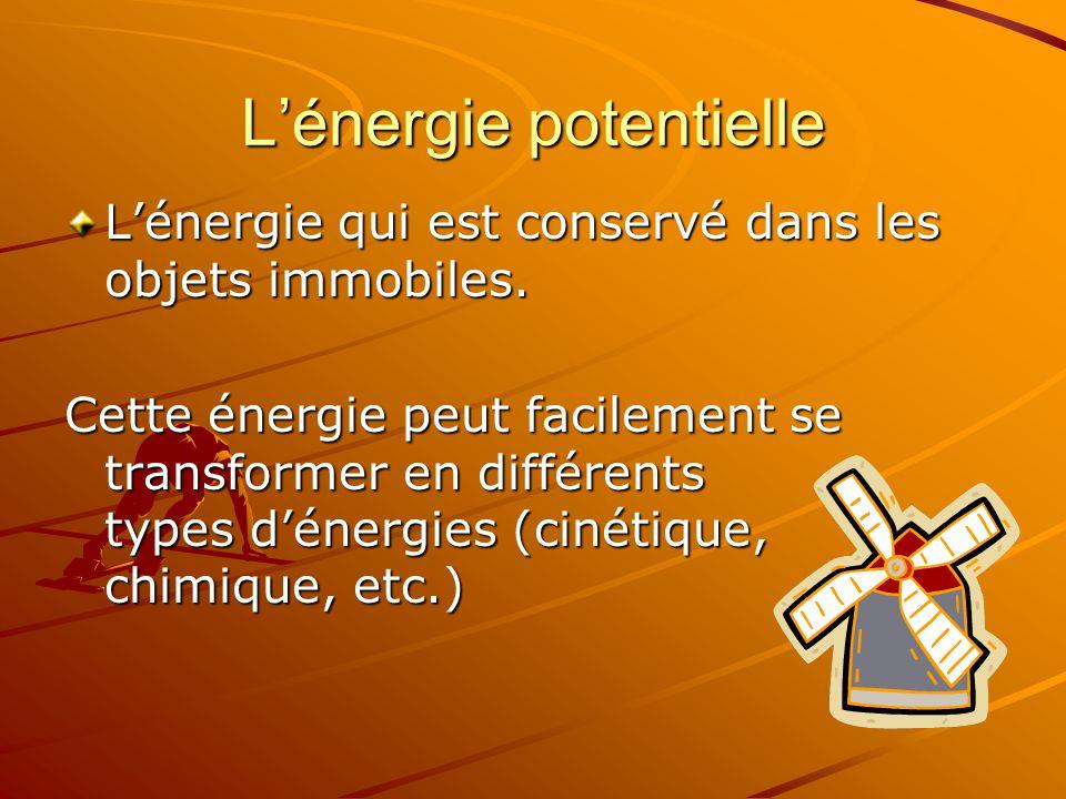 Lénergie potentielle Lénergie qui est conservé dans les objets immobiles. Cette énergie peut facilement se transformer en différents types dénergies (