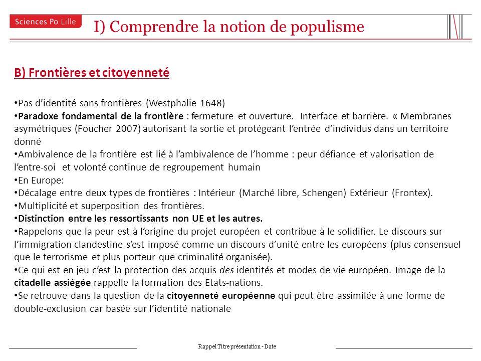 I) Comprendre la notion de populisme Rappel Titre présentation - Date B) Frontières et citoyenneté Pas didentité sans frontières (Westphalie 1648) Paradoxe fondamental de la frontière : fermeture et ouverture.