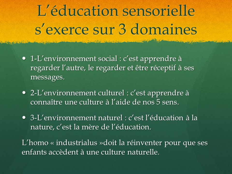 Léducation sensorielle sexerce sur 3 domaines 1-Lenvironnement social : cest apprendre à regarder lautre, le regarder et être réceptif à ses messages.