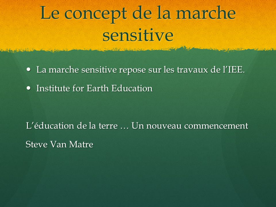 Le concept de la marche sensitive La marche sensitive repose sur les travaux de lIEE.