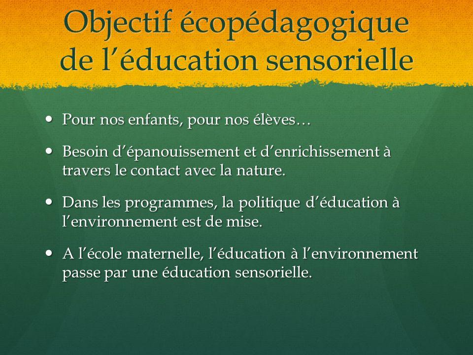 Objectif écopédagogique de léducation sensorielle Pour nos enfants, pour nos élèves… Pour nos enfants, pour nos élèves… Besoin dépanouissement et denr
