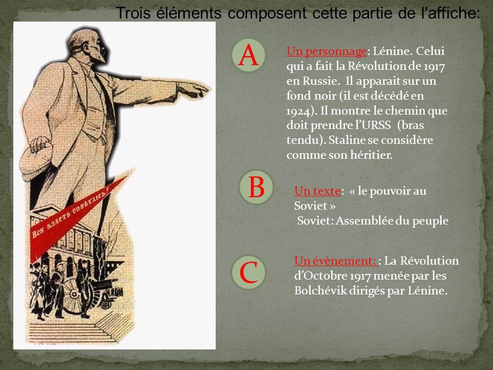 A B C Trois éléments composent cette partie de l affiche: Un personnage: Lénine.