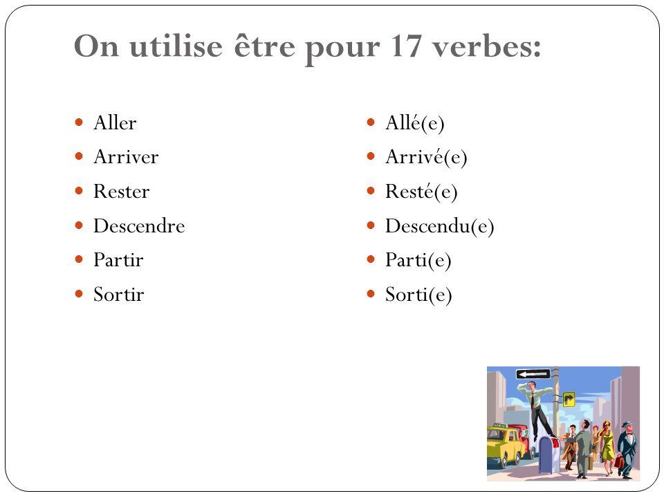 On utilise être pour 17 verbes: Aller Arriver Rester Descendre Partir Sortir Allé(e) Arrivé(e) Resté(e) Descendu(e) Parti(e) Sorti(e)