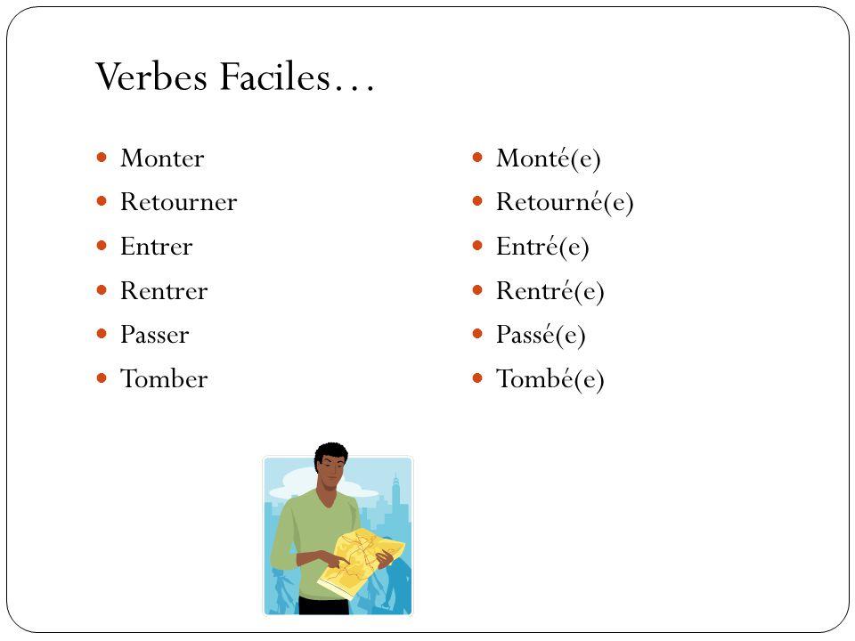 Verbes Faciles… Monter Retourner Entrer Rentrer Passer Tomber Monté(e) Retourné(e) Entré(e) Rentré(e) Passé(e) Tombé(e)