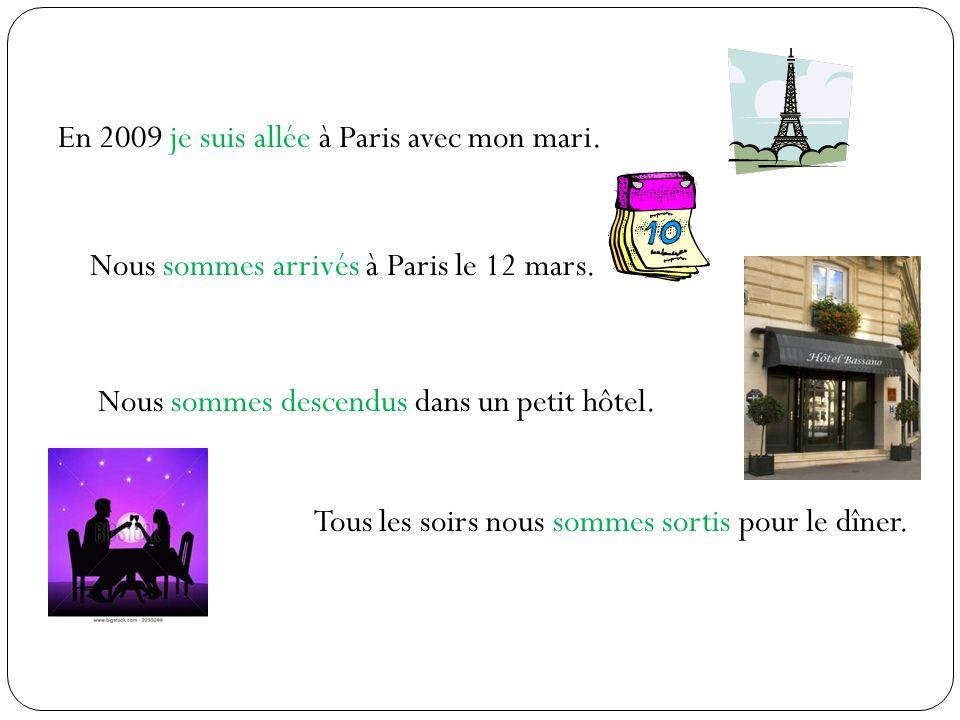 En 2009 je suis allée à Paris avec mon mari. Nous sommes arrivés à Paris le 12 mars. Nous sommes descendus dans un petit hôtel. Tous les soirs nous so