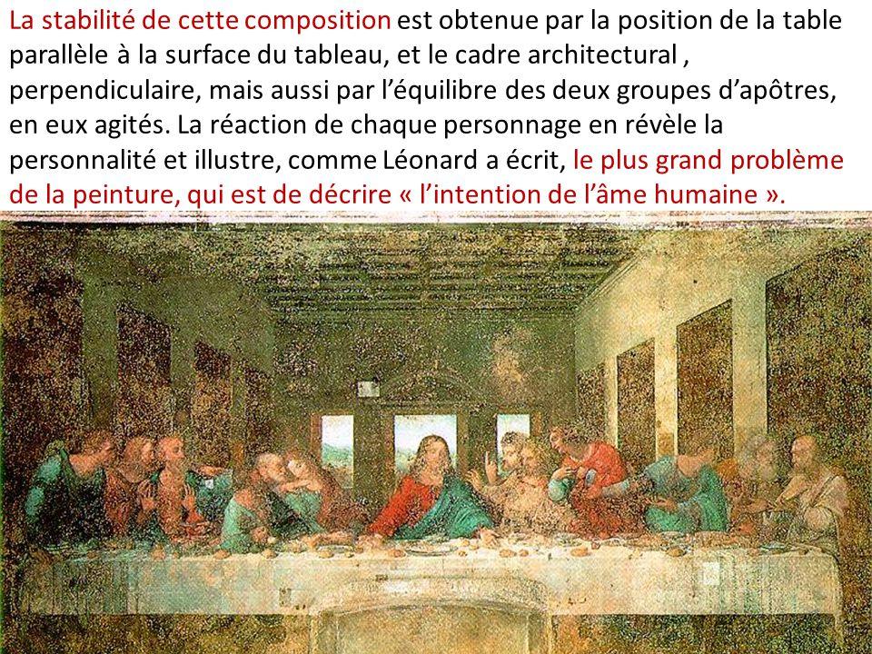 La stabilité de cette composition est obtenue par la position de la table parallèle à la surface du tableau, et le cadre architectural, perpendiculair