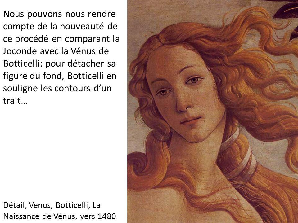 Détail, Venus, Botticelli, La Naissance de Vénus, vers 1480 Nous pouvons nous rendre compte de la nouveauté de ce procédé en comparant la Joconde avec