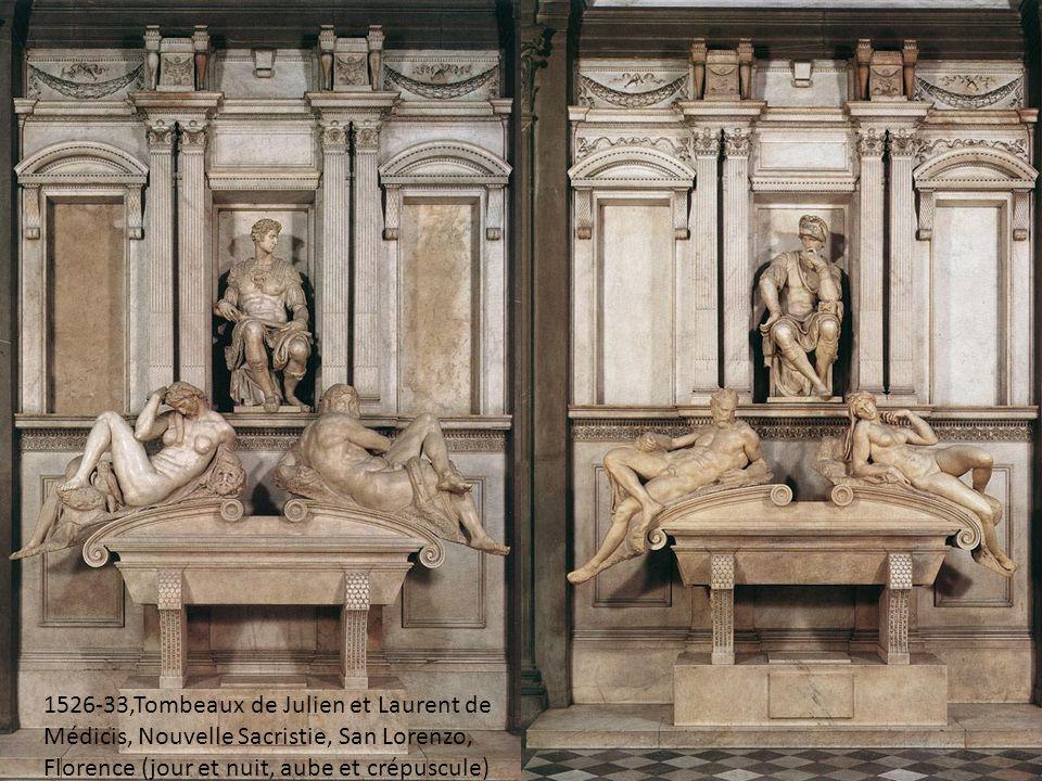 1526-33,Tombeaux de Julien et Laurent de Médicis, Nouvelle Sacristie, San Lorenzo, Florence (jour et nuit, aube et crépuscule)