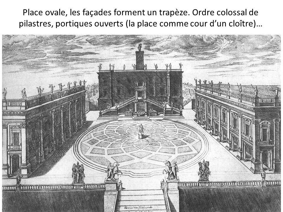 Place ovale, les façades forment un trapèze. Ordre colossal de pilastres, portiques ouverts (la place comme cour dun cloître)…