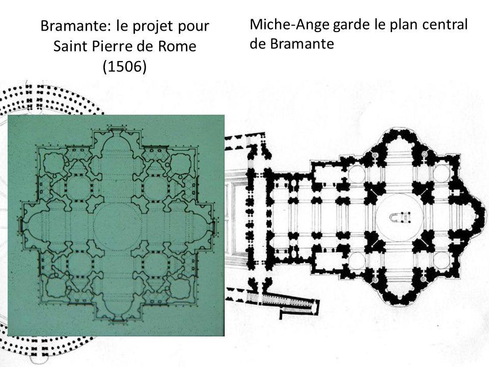 Bramante: le projet pour Saint Pierre de Rome (1506) Miche-Ange garde le plan central de Bramante