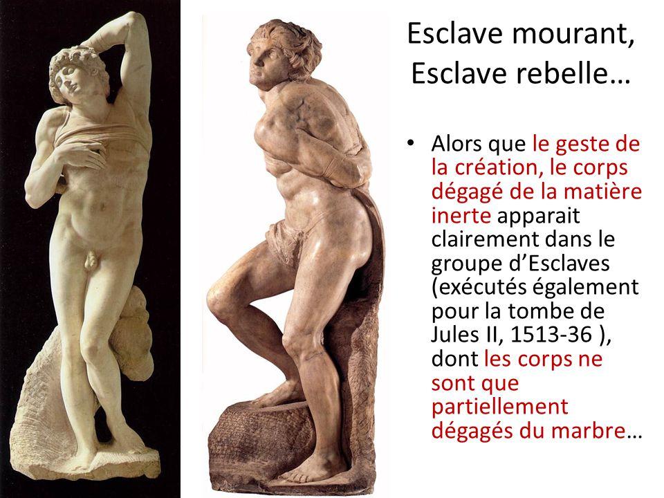 Esclave mourant, Esclave rebelle… Alors que le geste de la création, le corps dégagé de la matière inerte apparait clairement dans le groupe dEsclaves