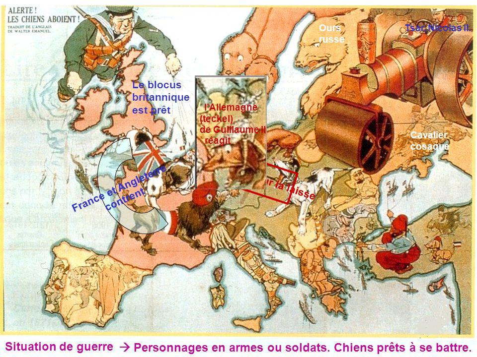 Situation de guerre Personnages en armes ou soldats. Chiens prêts à se battre. Tsar, Nicolas II. Cavalier cosaque Ours russe A.H. tire sur la laisse F