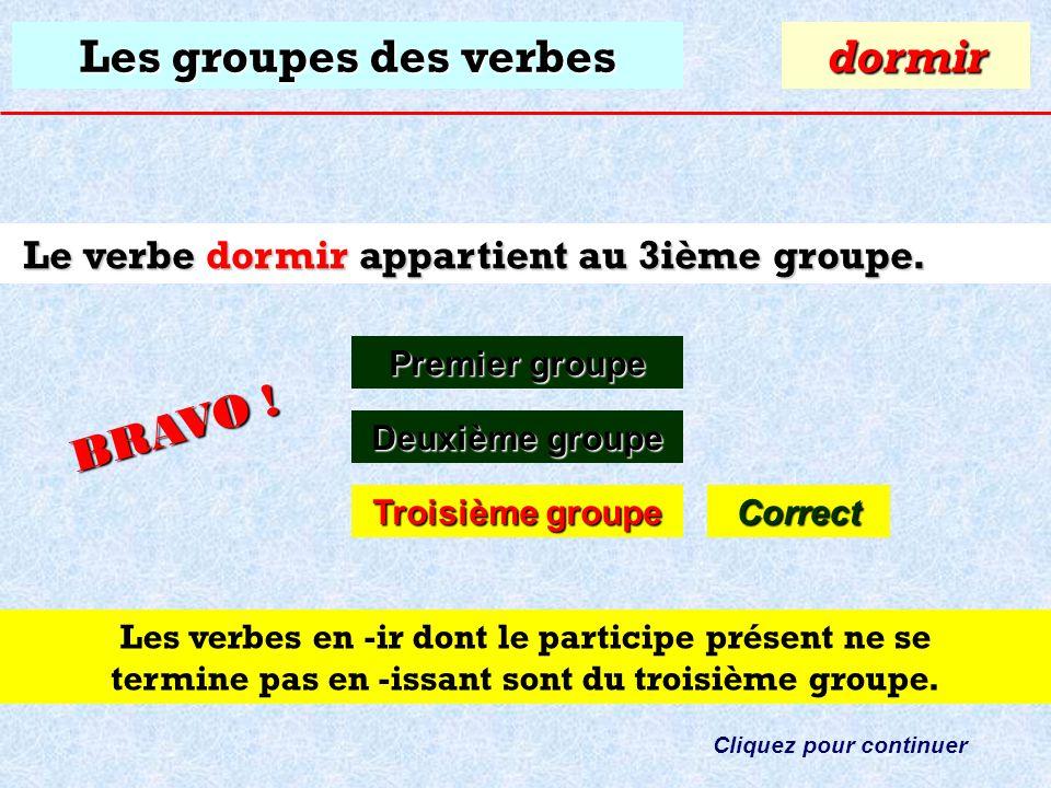 Les groupes des verbes À quel groupe appartient le verbe: dormir ? Premier groupe Premier groupedormir Deuxième groupe Deuxième groupe Troisième group