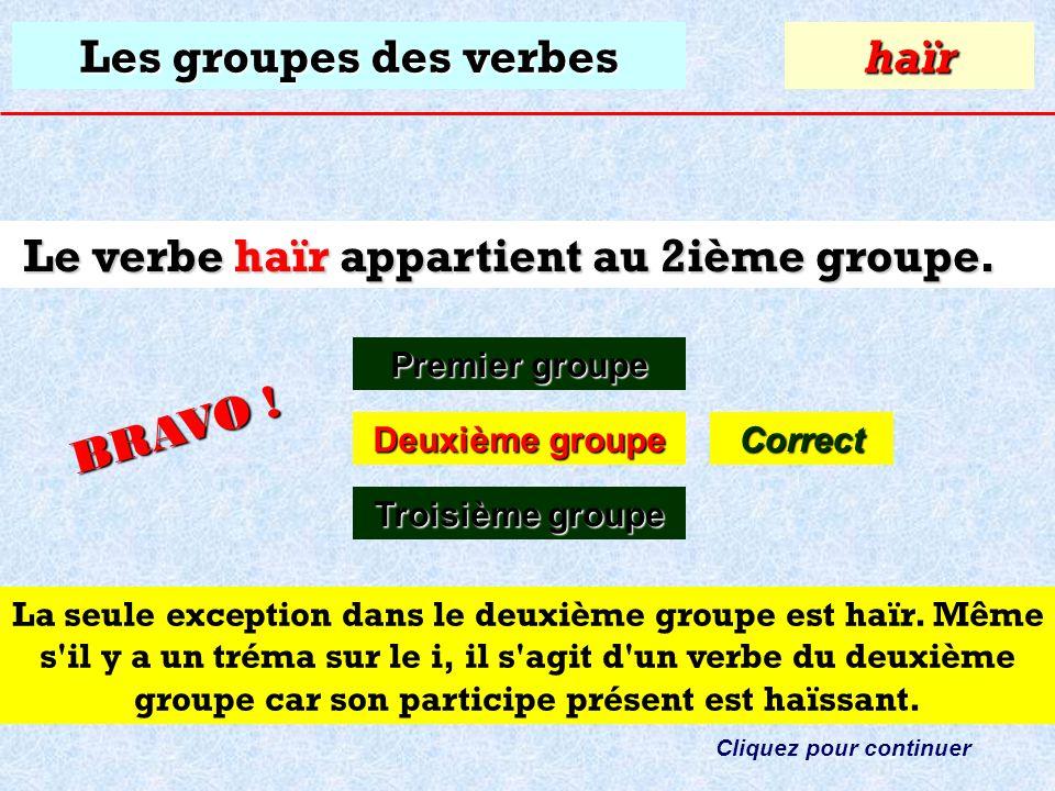Les groupes des verbes À quel groupe appartient le verbe: haïr ? Premier groupe Premier groupehaïr Deuxième groupe Deuxième groupe Troisième groupe Tr