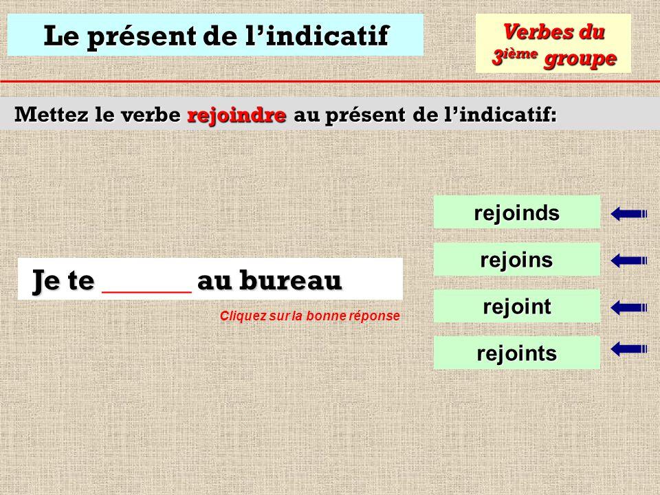 Le présent de lindicatif Mettez le verbe descendre au présent de lindicatif: descend Verbes du 3 ième groupe descends descent Tu descends de la montag
