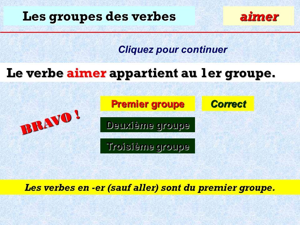 Les groupes des verbes À quel groupe appartient le verbe: aimer ? Premier groupe Premier groupeaimer Deuxième groupe Deuxième groupe Troisième groupe